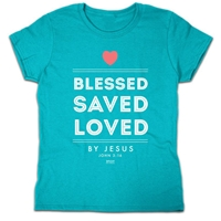 Blessed Saved Loved Christian T Shirt