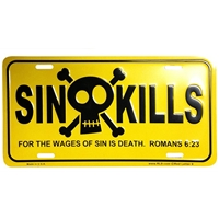Sin Kills Christian License Plate