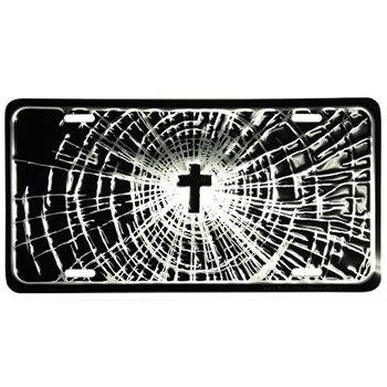 Cross Shattered Glass Christian License Plate