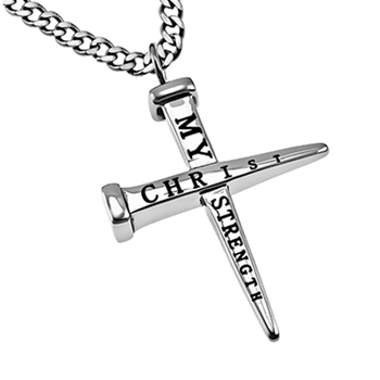 Christ My Strength Nails Cross Necklace