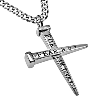 Fear Not For I Am Your God Nails Cross Necklace