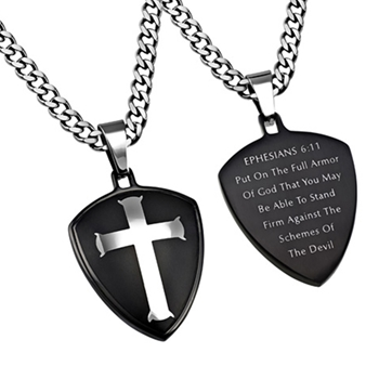 Armor Of God Black Shield Cross Necklace