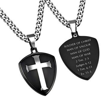 Man Of War Black Shield Cross Necklace