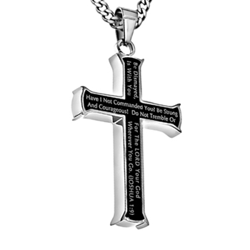 Strong And Courageous Iron Cross Necklace