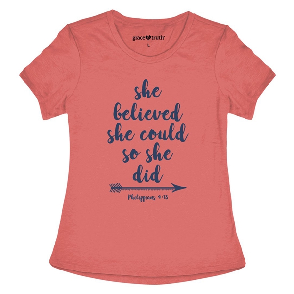 She Believed Could So Did T Shirt Philippians 4 13 Grace Truth
